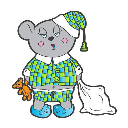 pl�schtier: Sleepy B�r im Schlafanzug mit einem Kissen und Stofftier seine H�nde Vector Zeichen