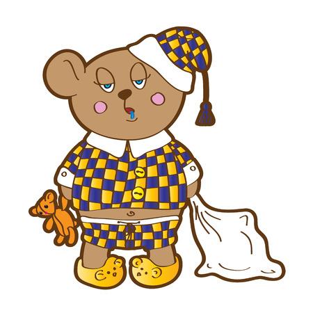 pl�schtier: Sleepy Bear im Schlafanzug mit einem Kissen und Stofftier seine H�nde Vektor-Zeichen