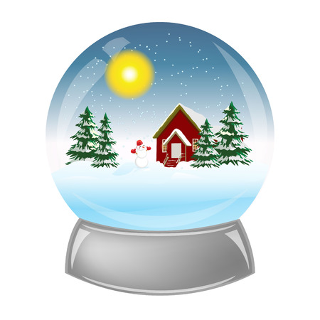 christal: Glass ball with the installation of winter inside Illustration