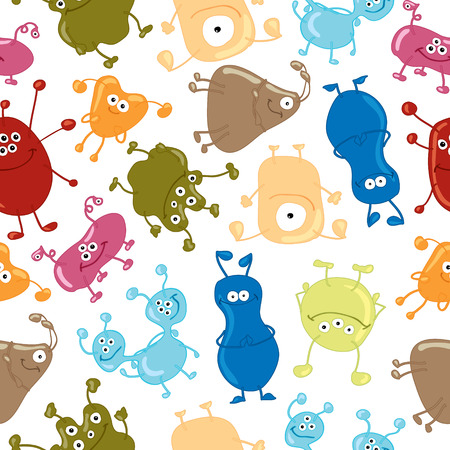 Bacteria  Seamless vector pattern