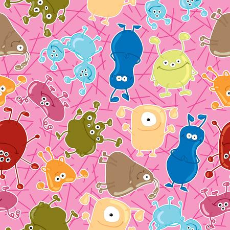 dangerously: Bacteria  Seamless vector pattern  Illustration