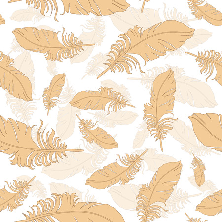 feathery: Seamless pattern of gold peacock feathers on brown background Illustration