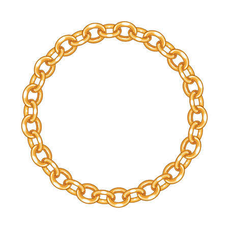 round frame vector - gold chain on the white background 向量圖像