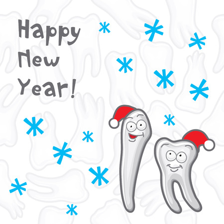 Teeth. Happy New Year greeting card inscriptions for the dentist.