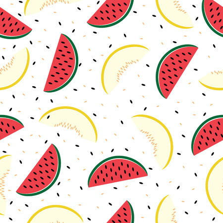 Slices of watermelon and cantaloupe, seamless pattern Vector