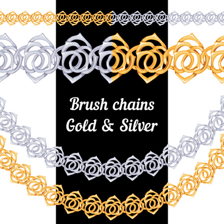 Set of chains metal brushes - gold and silver roses  vector Vector