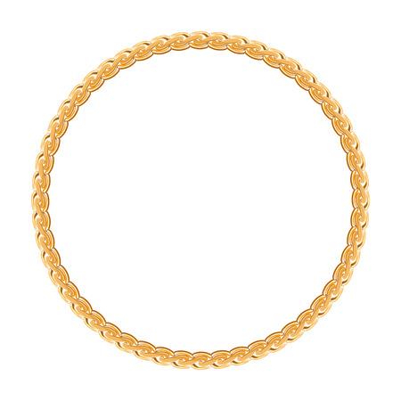 白い背景の上のフレーム ベクトル - ゴールドのチェーンをラウンドします。  イラスト・ベクター素材
