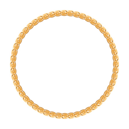 round frame vector - gold chain on the white background  Ilustrace