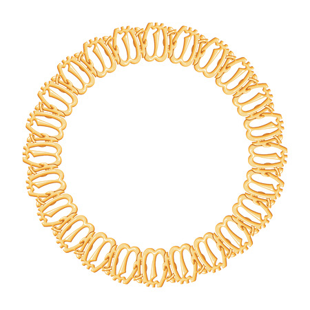 round frame on a white background - gold chain, religious symbol Islam  Vector