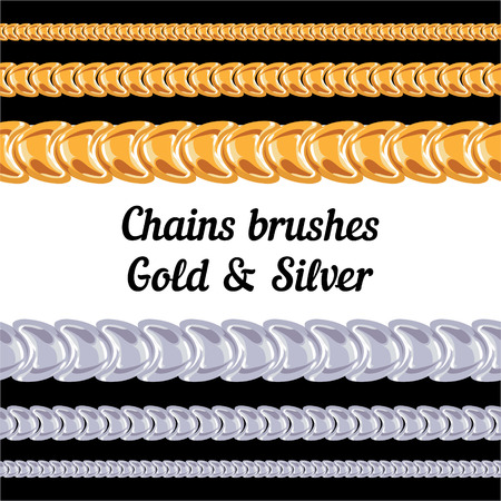 Chains of metal brushes - gold and silver  vector Vector