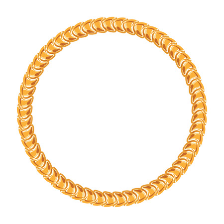 Golden chain - round frame on the white background. 向量圖像