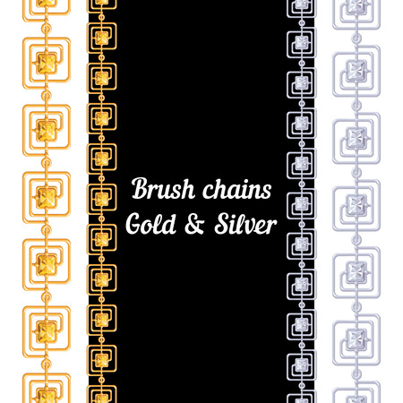 Set of chains of metal brushes - gold and silver. vector Vector