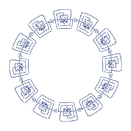 round frame vector - silver chain on the white background. Vector