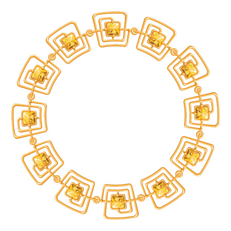 round frame vector - gold chain on the white background. Vector