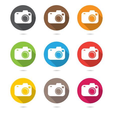 Hipster photo or camera icon set with shadow.