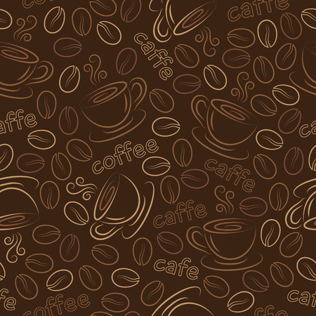 Seamless pattern with cups of coffee and coffee grains.  向量圖像
