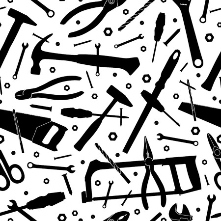 Construction tools. Seamless vector background. Template for design Vector