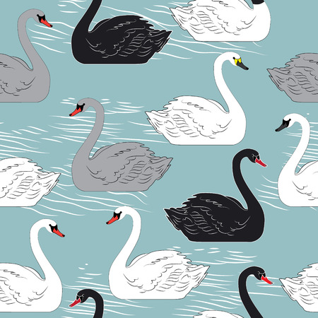 Swans. Seamless vector pattern. Template for design
