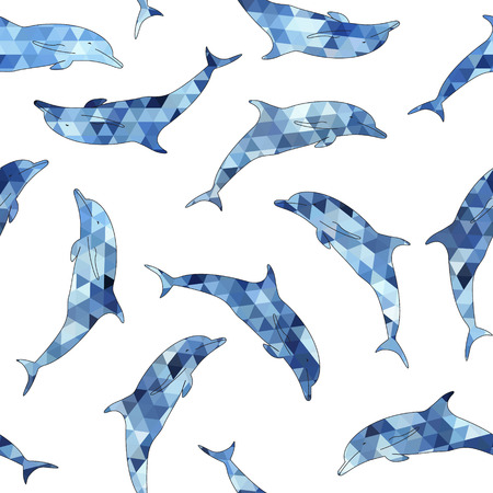 aciculum: Dolphins silhouette seamless vector background. Template for design Illustration