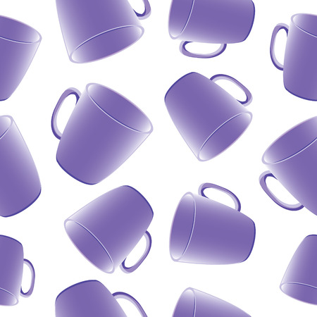 Cups seamless vector background. Template for design Vector
