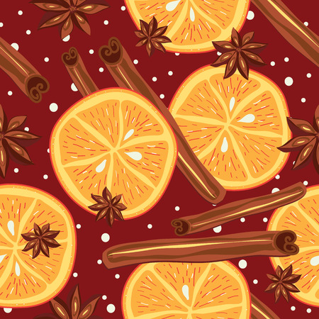 Cinnamon and oranges, vector, kitchen background Abstract seamless Vector