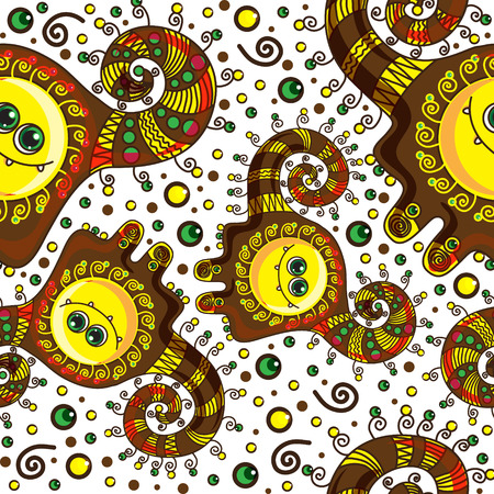 Funny monster seamless pattern. Vector doodle on a colorful background Vector