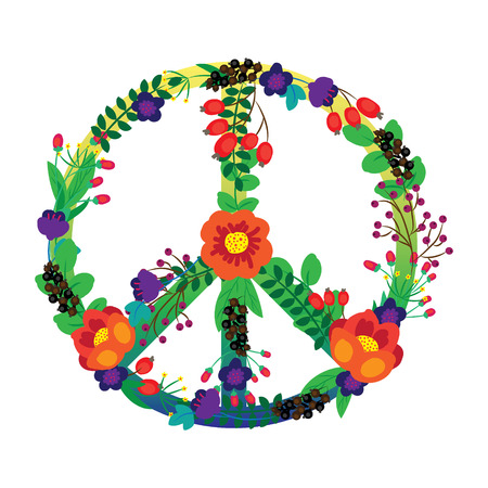 The emblem of the hippie flowers on a white background. Vector illustration