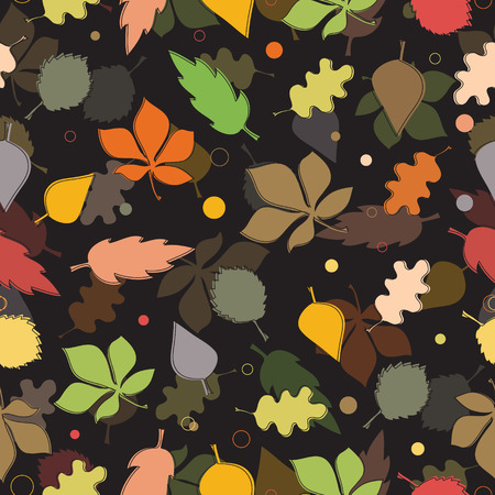 Seamless pattern of autumn leaves. Various leaves on black background Vector