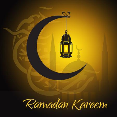 Crescent and lantern to light the holy Muslim month of Ramadan Kareem community Vector