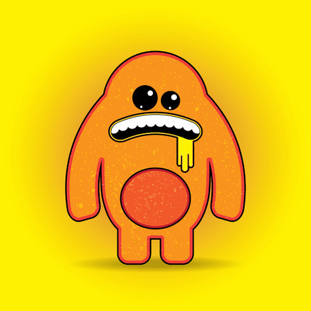 Fun Vector Monster Character. Template for design t-shirts Vector