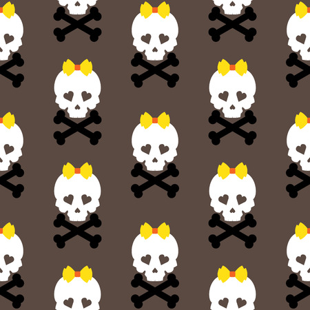 Skull with a bow, seamless pattern. Vector background. photo