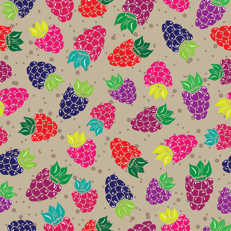 bilberry: Decorative pattern with wild and garden berries Seamless background.