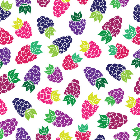 Decorative pattern with wild and garden berries Seamless background. Vector