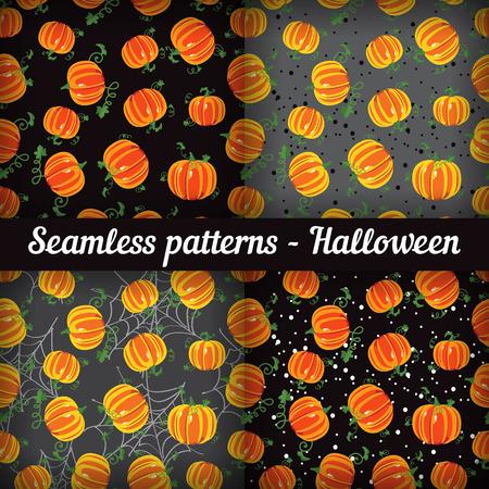 Halloween. Pumpkins. Set of seamless patterns Vector Vector