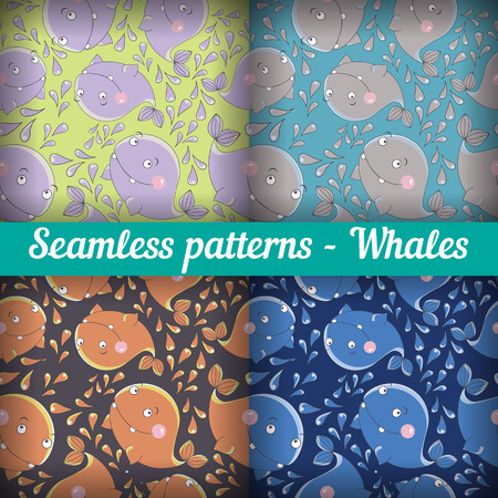 Whales. Set of abstract seamless pattern. Template backdrop for a nursery or playroom, bathroom Vector