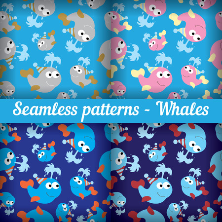 whales set of abstract seamless pattern template backdrop for