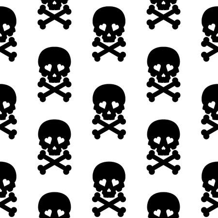 Skull Seamless pattern Vector background white black. photo