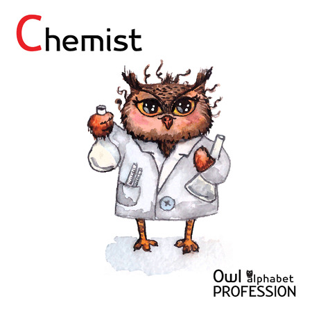 Alphabet professions Owl Chemist character on a white background Vector Watercolor Vector