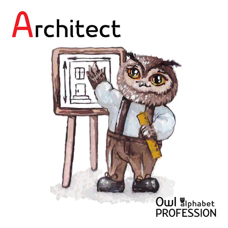 Alphabet professions Owl Architect character on a white background Vector Watercolor. Vector