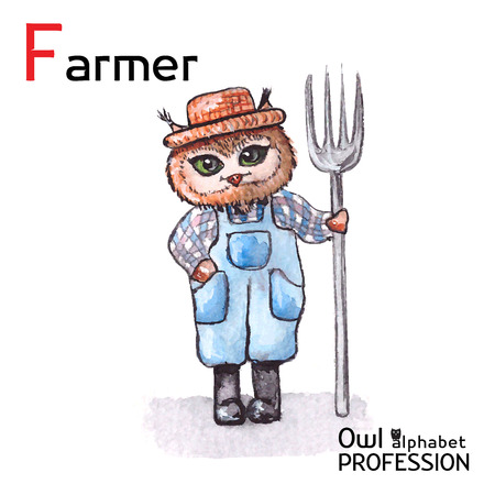 Alphabet professions Owl Letter F - Farmer character on a white background Vector Watercolor Vector