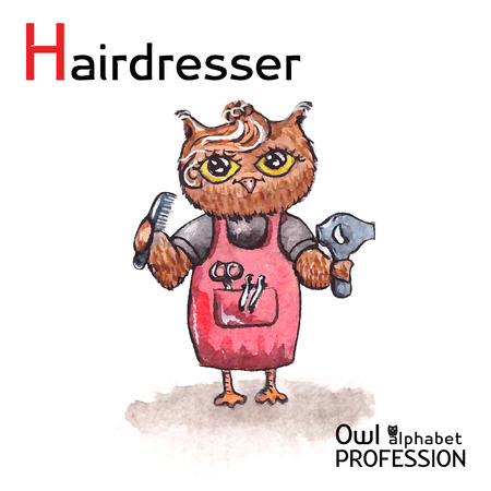hairstylist: Alphabet professions Owl Letter H - Hairdresser character on a white background Vector Watercolor