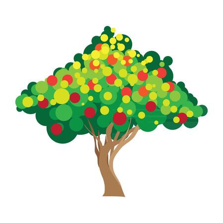 Apple tree. Vector illustration on white background Vector