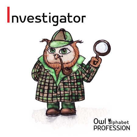 shadowing: Alphabet professions Owl Letter I - Investigator character Vector Watercolor
