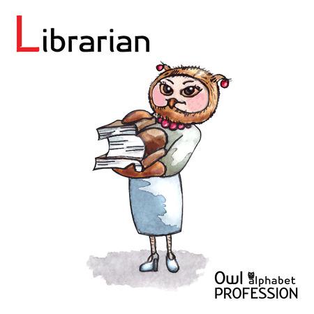 Alphabet professions Owl Letter L - Librarian character Vector Watercolor Vector