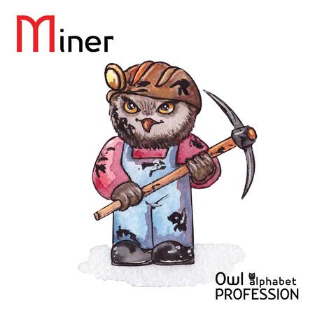 mine lamp: Alphabet professions Owl Letter M