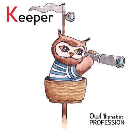 Alphabet professions Owl Letter K - Keeper character Vector Watercolor Vector