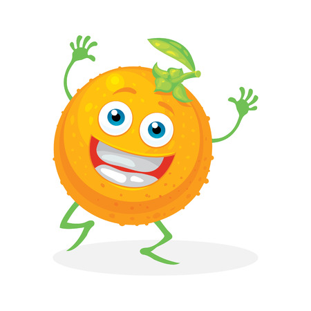 Cute orange on a white background. Vector character Vector