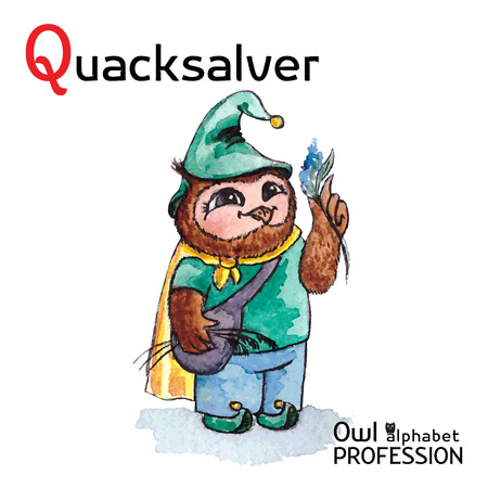boils: Alphabet professions Owl Letter Q - Quacksalver character Vector Watercolor