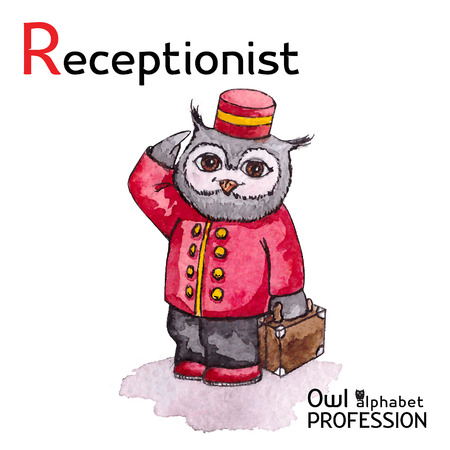 Alphabet professions Owl Letter R - Receptionist character Vector Watercolor Vector