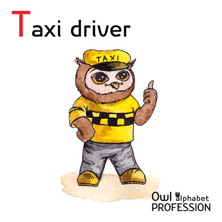 Alphabet professions Owl Letter T - Taxi driver character Vector Watercolor